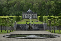 Fontaine et le Pavillon Rococo (Flikkersteph -4,000,000 views ,thank you!) Tags: springtime garden waterpool fountain tranquillity landscape nature footpaths reflecting wonderful hills slopes cloudy shadow trees foliage castle hastire wallonia belgium