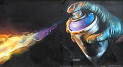 Fire Starter (peterphotographic) Tags: 20160928165022edwm firestarter iphone 6s apple peterhall camden camdenmarket chalkfarm northlondon london england uk britain street streetphotography graffitti art aerosol fire hand glove black