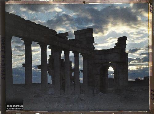 Syrie, Palmyre, Portique de la rue Centrale au jour naissant