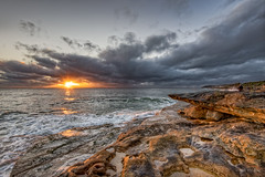 Look quickly or you'll miss it (JustAddVignette) Tags: australia beach clouds cloudysunrise dawn early fisherman landscapes light newsouthwales northernbeaches ocean rocks sand seascape seawater sky southcurlcurl sunrise sydney water waves