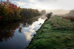 riverdance (Port View) Tags: fujixe2 cornwallisriver novascotia canada cans2s 2016 fall autumn river water calm reflection leaves color colour changing mist fog morning sunrise grass green bank clouds