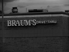 Braum's neon in black and white (kevinellison62) Tags: blackwhite edmond oklahoma braums restaurant building
