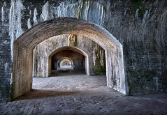 Nine portals to nowhere. (Jill Bazeley) Tags: fort pickens gulf islands national seashore santa rosa island park service find your pensacola beach brick battery cannon sony alpha a6300 1018mm sel1018 arch architecture ruin abandoned vault florida history civil war 1812 geronimo harbor fortification united states bunker efflorescence