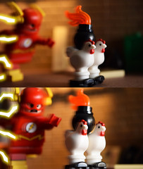 Poultry Pursuit! Part 2 (Andrew Cookston) Tags: lego dc comics dccomics flash theflash central keystone city thetrickster trickster jamesjesse chickens moc custom minifig christo christo7108 stilllife toy macro photography andrewcookston