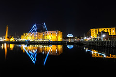 Albertdock reflections (paul hitchmough photography) Tags: tateliverpool blue nightphotography nikond800 rivermersey liverpool albertdock paulhitchmoughphotography reflections longexposure