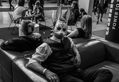 Whaddya Looking At? (Javlamusik) Tags: man people indoor indoors mask comic con comicon comiccon rabbit bunny cosplay cosplayer blackandwhite black white and couch