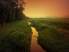 IMG_5303 sunset light (pinktigger) Tags: sunset italy mountains countryside stream italia country fields friuli fagagna feagne