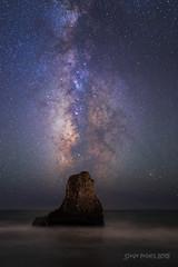 Milky Way over Davenport Rock (TierraCosmos) Tags: california nightphotography santacruz seascape beach rock stars nightscape montereybay astrophotography astronomy davenport rockstack seastack milkyway