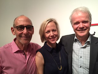 Gallery owner Fred Snitzer with Artist Amanda Keeley and her father Brian at her opening night at Snitzer Gallery