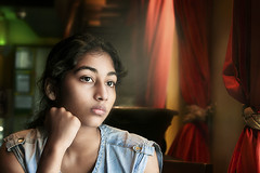 The Dreamer (georgerani532) Tags: red girl young naturallight starbucks curtains mumbai deepcontrast diamondclassphotographer flickrdiamond