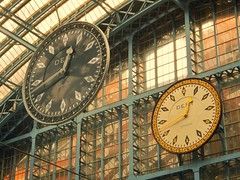 Double Time (35mmMan) Tags: clock monochrome colour stpancras station pair twobytwo samsungkzoom android cameraphone london city double time inexplore explored