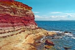 Greece, Aegean sea, Chios island, Agia Ermioni, Karfas bay, rock's colored layers (bilwander) Tags: travel sea rock greece layers formations aegeansea bilwander   chiosisland