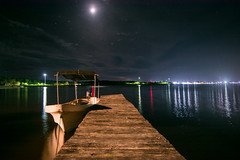 Chiquil Port, Rio Lagartos. Yuc. (Xavy Vp) Tags: moon rio mxico night photography luces noche boat nikon gulf luna yucatn lightning reflexion lancha golfo reflejos vp lagartos xavy 1224mmf4 d7100