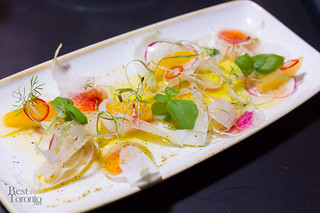 Radish salad with fennel, orange in red wine vinegar.