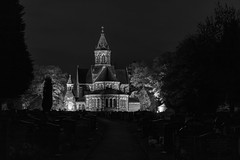 Black & White St Paul's Church, Hooton (Rob Pitt) Tags: lighting light building architecture night photography cheshire little outdoor a4 stpaulschurch sutton wirral a41 hooton