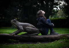 (Molly Sanborn) Tags: travel explore wales united kingdom uk europe photography people self portrait bute park cardiff statue wood frog