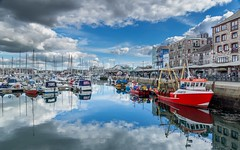 Barbican Reflections (Rich Walker75) Tags: clouds cloud sky reflections reflection jetty waterside outdoor boats boat england uk suttonharbour plymouthbarbican devon plymouth