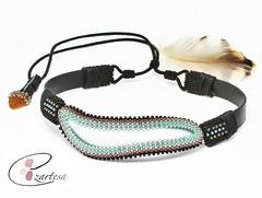 leather choker necklace with sea glass (Ezartesa) Tags: choker chokernecklace beadednecklace seaglass seaglassjewelry black seablue ezartesa