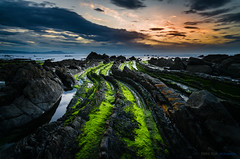 Dragon's Spine (Gorka Vega Creative) Tags: barrika atardecer marino paisaje puesta sol playa bizkaia basque country dragon musgo verde roca mar cantabrico euskadi flich sunset nubes