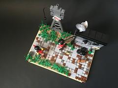 Abandoned Service Station. (brickprincess) Tags: lego legomoc moc afol legovignette vignette legopostapoc postapoc legoapocalypse legogasstation gasstation legoservicestation iphoneonly