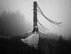 Tree Of Loneliness (Maren Klemp) Tags: fineartphotography fineartphotographer darkart blackandwhite monochrome nature naturallight outdoors tree fog woman ethereal artistic movement dreamy painterly symbolic melancholy nostalgic vintage whitedress selfportrait portrait conceptual surreal