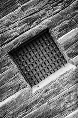 Jail   (In Explore) (jcblackstone) Tags: jail black white window texture structure architecture rust rusty leicaq