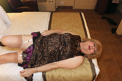 new123193-IMG_8952t (Misscherieamor) Tags: transvestite sissy crossdress tgirl transgender travestis travestie travesti tranny tv ts cd tg m2f tgurl gurl mature xdresser feminine femme transformation travestido travestit travestito traviesa transwoman stockingtops garters slipshowing prettydress onbed motel