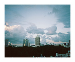 (iconicturn) Tags: telaviv israel middleeast analog analogue film mediumformat 120 6x7 kodak portra mamiya7 mamiya urban skyline evening sunset clouds towers