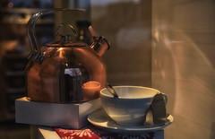 Just Add Hot Water (zenseas : )) Tags: beforecaffeine window shop shopping cup tea kettle morning universityvillage seattle washington steaming steam hotwater windowshopping bokeh store