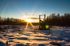 Cold Rustic Sunset (Ferintosh Farms Photography) Tags: rustic corral winter snow alberta canada plains prairie
