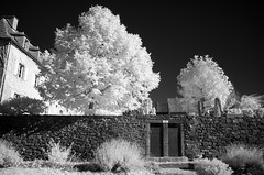 Small doors (Lolo_) Tags: ir infrared trizac cantal auvergne france infrarouge wall mur stone pierre ws toilets trees arbres village couvent cole school convent bw house maison