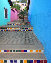 Bright walls with a tiled stairsway in Talpa, one of Mexico's Pueblos Magicos in the Pacific high sierras (albatz) Tags: sierramadre westcoast buildings talpa mexico pueblosmagicos pacific high sierra wall bright stairs tiled stairway jalisco town