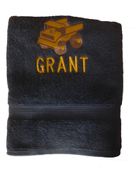 Bath Towel with Dump Truck Embroidery (initial_impressions) Tags: embroidered personalized childsbathtowel yellowdumptruck