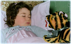 The Lion Sleeps but the Tiger Roars! (Chris C. Crowley) Tags: thelionsleepsbutthetigerroars me chriscrowley vintage restoration child stuffedtoy tiger pillow blanket sleeping toddler