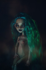 mist (Klio.13) Tags: monsterhigh monster high mattel ooak custom customdolls dolls dollphotography toyphotography toys repaint reroot rochellegoyle cyan chains black background