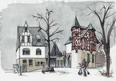 Limburg, die berüchtigte Bischofsresidenz (Namtra) Tags: arnohartmann limburg hessen bischofsresidenz bishopsresidence mittelalter fachwerk schiefer domberg aquarell watercolour watercolor fineliner winter architektur architekturzeichnung