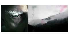 . (Angela Malavenda) Tags: men man eye mountain landscape october birthday 15th fog elderly white eyebrow portrait detail diptych cold alone evening view north