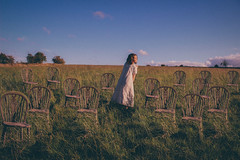 First day of school. (Rebecca Cartwright) Tags: art girl field grass chair yorkshire fineart fineartphotography