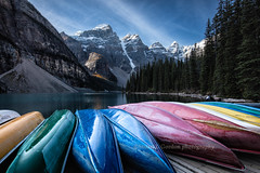 Boat Launch, Moraine Lake (chasingthelight10) Tags: travel trees canada mountains nature photography landscapes countryside events lakes places vistas forests banffnationalpark