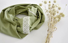 Water Green Infinity Scarf, with 2 kinds of decorated laces, Women, Fast Delivery (Redd Apple) Tags: summer green fashion scarf circle clothing women loop handmade lace infinity womens cotton gift accessories scarves ideas