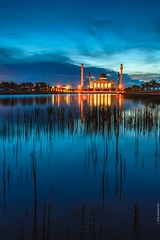 Tranquil evening (samaster-jk) Tags: blue sky water yellow thailand evening twilight pond muslim religion peaceful mosque songkhla tranquil masjid hatyai