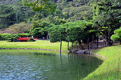 Ritsurin Garden (pedro smithson) Tags: park travel bridge trees red people mountain lake green nature water grass japan 35mm nikon asia peace takamatsu carps nippon pedrosmithson