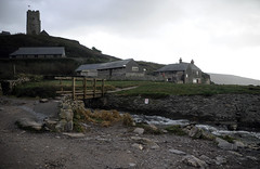Church, Marine Centre and Mill Cafe (carolemason) Tags: beach church cafe devon wembury stwerburgh marinecentre