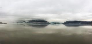 Morning fog on the Hudson River.