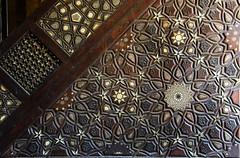Cairo Northern Cemetery Khanqah of Sultan al-Ashraf Barsbay (1432) Minbar Detail (4) (Bruce Allardice) Tags: egypt ivory cairo sultan inlaid minbar mamluk easterncemetery northerncemetery khanqah sultanalashrafbarsbay alashraf barsbay tombsofthecaliphs