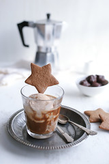 Gingerbread Ice-cream Affogato (Jet & Indigo) Tags: christmas coffee vintage festive dessert cookie drink sweet gingerbread depthoffield biscuit homemade icecream foodphotography affogato foodstyling