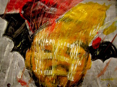 Autumnal Head (giveawayboy) Tags: pencil crayon drawing sketch art acrylic paint painting fch tampa artist giveawayboy billrogers autumn fall autumnal head man bat wing wings pinecone abstract figurative beard