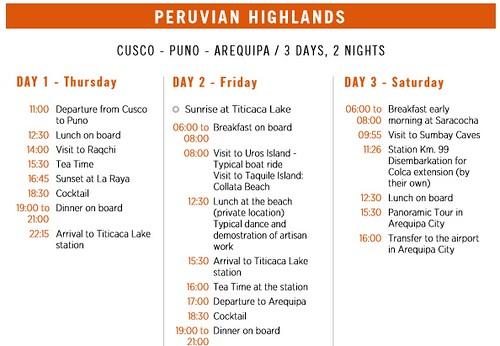 Belmond Andean Explorer Peruvian Highlands itinerary