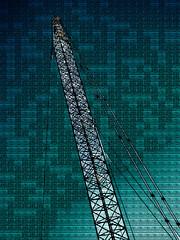 The Crazy Crane (Steve Taylor (Photography)) Tags: crane art digital building construction blue black monocolor monocolour metal cable wire newzealand nz southisland canterbury christchurch city cbd texture tall sky crazy