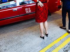2016sept_hongkong156 (Kris Arzadun) Tags: china hongkong colour street streetphotography reddress taxi yellowline legs girl